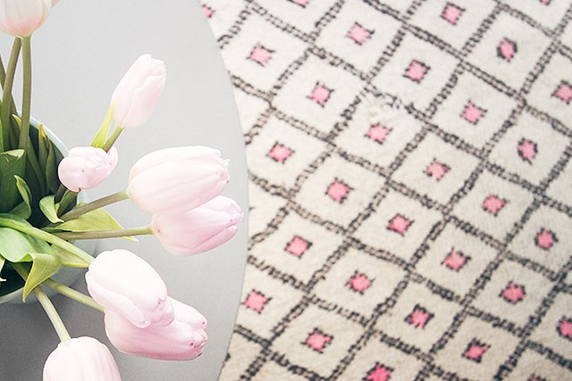 Pink Tulips and a Moroccan Rug