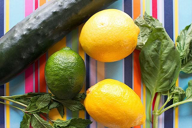 Cucumber, Lemon, Lime, Mint, and Basil