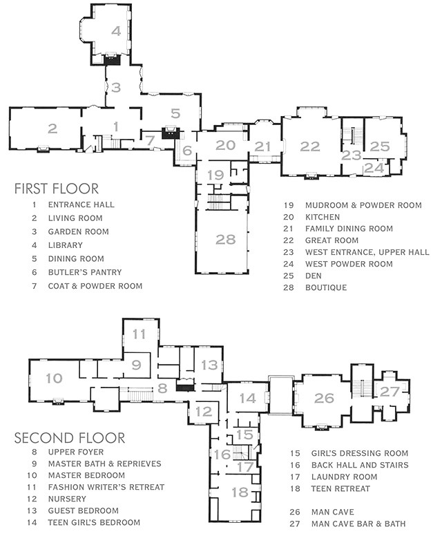 Lake Forest Showhouse & Gardens, 2015, Floor Plans
