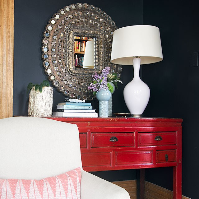 Red Console, Peacock Mirror, Black Walls » Making it Lovely