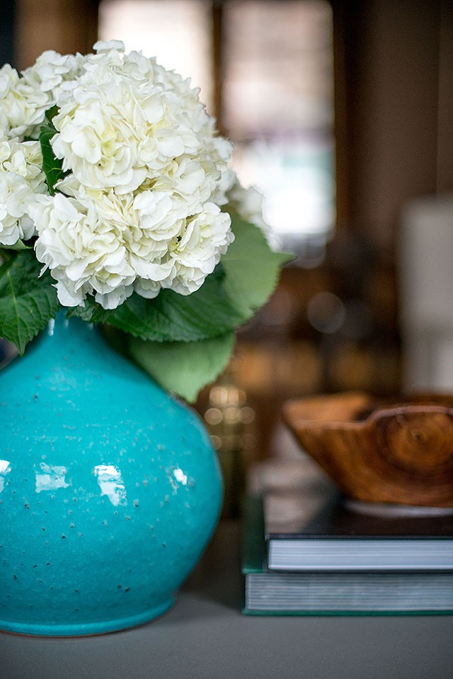 Blue Glazed Vase with Hydrangeas