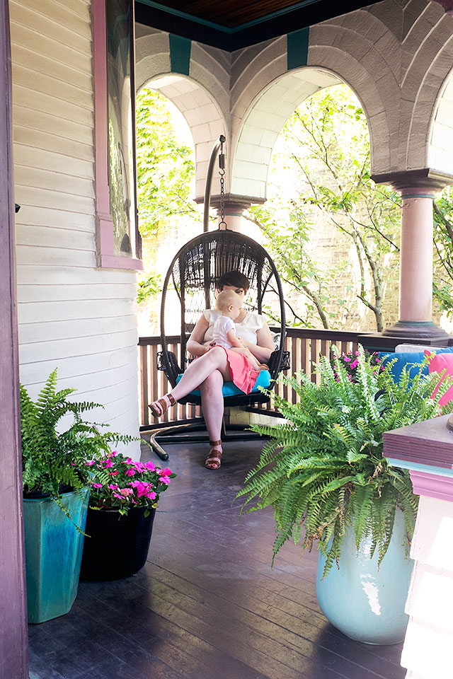 Swing Chair on a Victorian Front Porch   Making it Lovely