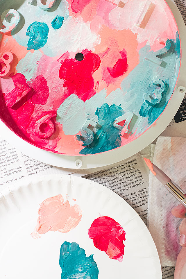 Abstract Art Clock Painting in Progress