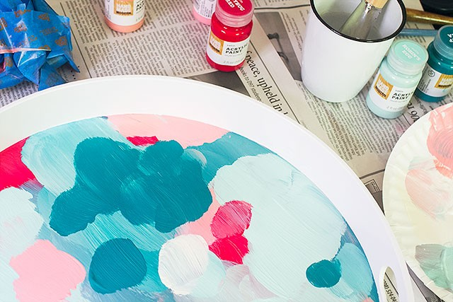 DIY Abstract Art Painted Tray | Making it Lovely