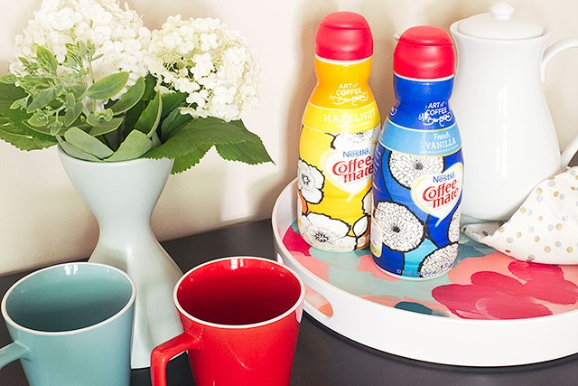 An Abstract Painted Serving Tray, with David Bromstad's #InspiredStart Designs for Coffee-Mate | Making it Lovely