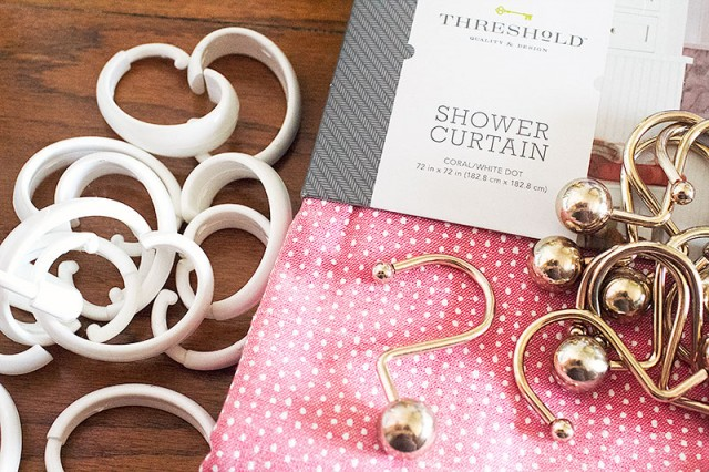 Old Plastic Shower Curtain Hooks, Meet New Pretty Brass (and a Pink Shower Curtain!)