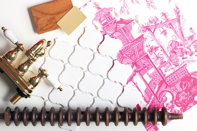 Pink Chinoiserie Wallpaper, Brass, Antique Wood, and Arabesque Lantern Tile