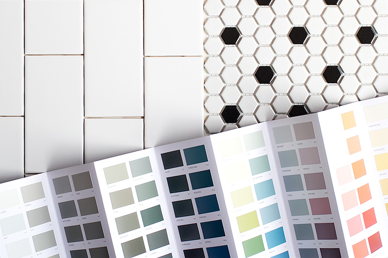 White Subway Tile and Hex Tile, Plus Paint Swatches