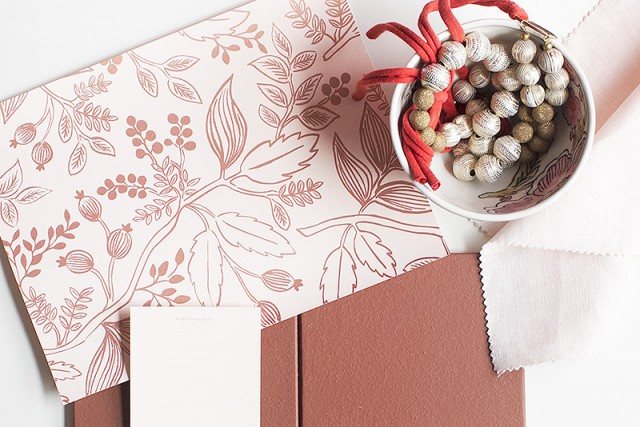 Spanish Red Tile with Pink Floral Wallpaper