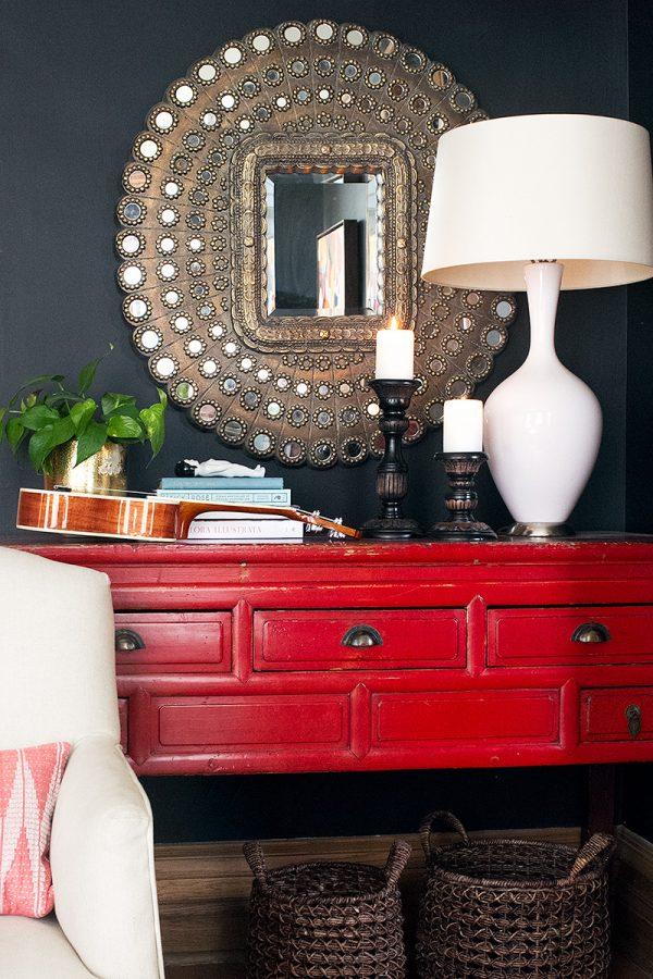 Peacock Mirror and Red Console Table