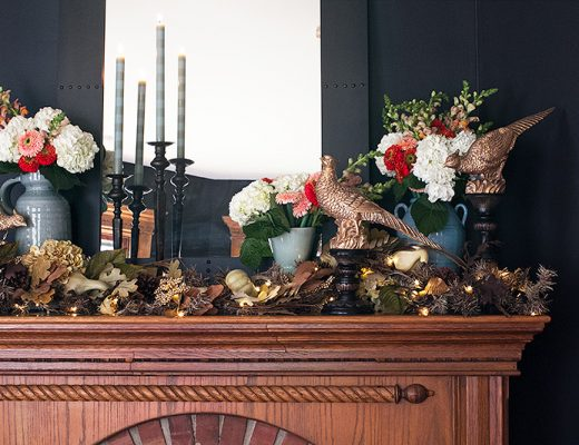 Golden Pheasants and Fall Leaves on the Fireplace Mantel