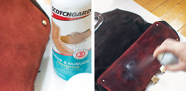 Protecting a Suede Purse with Scotchgard