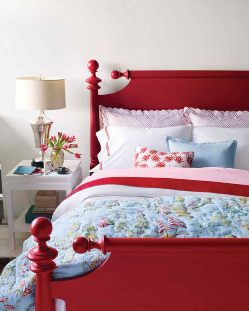 Painted Red Cannonball Bed, Martha Stewart