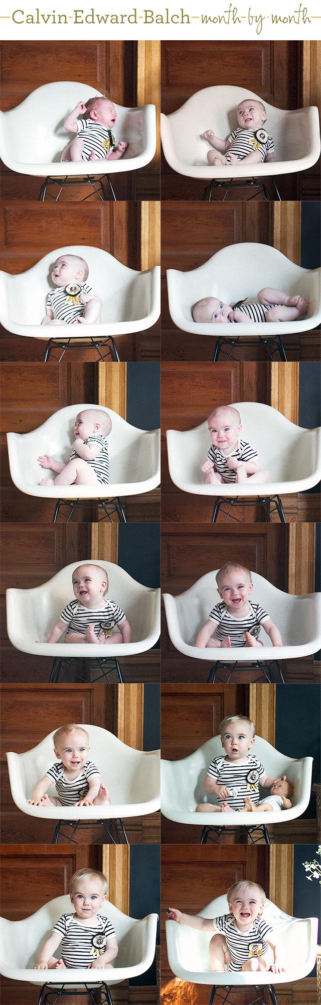 Calvin's Monthly Baby Photos (Twelve Months Old!)