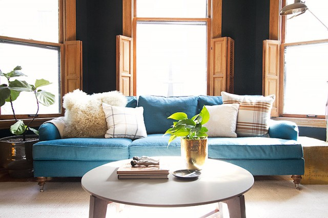 Teal Sofa with Plaid Pillows   Making it Lovely