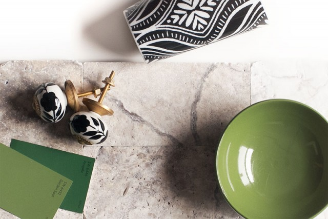 Travertine Tile with Black, White, Gold, and Vivid Green Accents