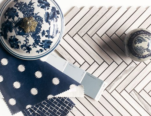Chevron Marble Tile with Blue and White Chinoiserie