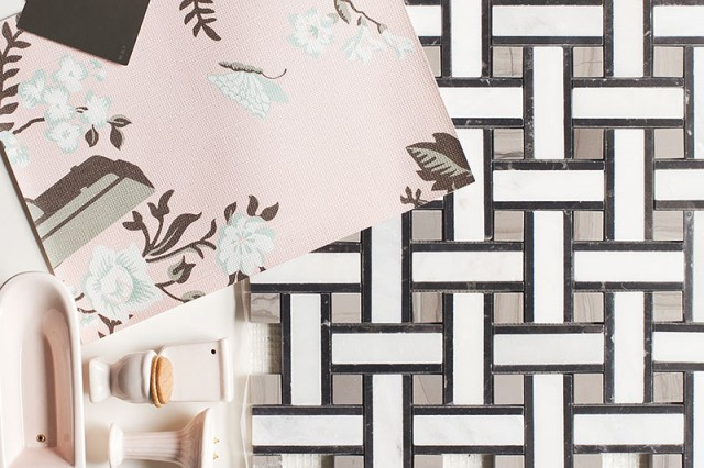 Pink Surveillance Camera Wallpaper with Gray and White Marble Mosaic Tile and Pink Bathroom Fixtures