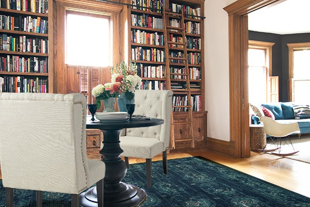 World Market Wingback Hostess Chairs and a Loloi Journey Rug