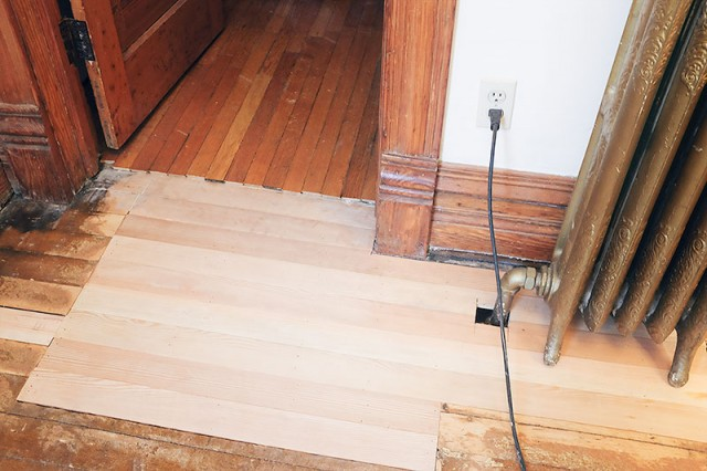 Patched Wood Flooring, New Subfloor