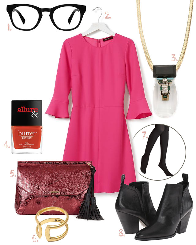Style: Flutter-Sleeve Pink Dress