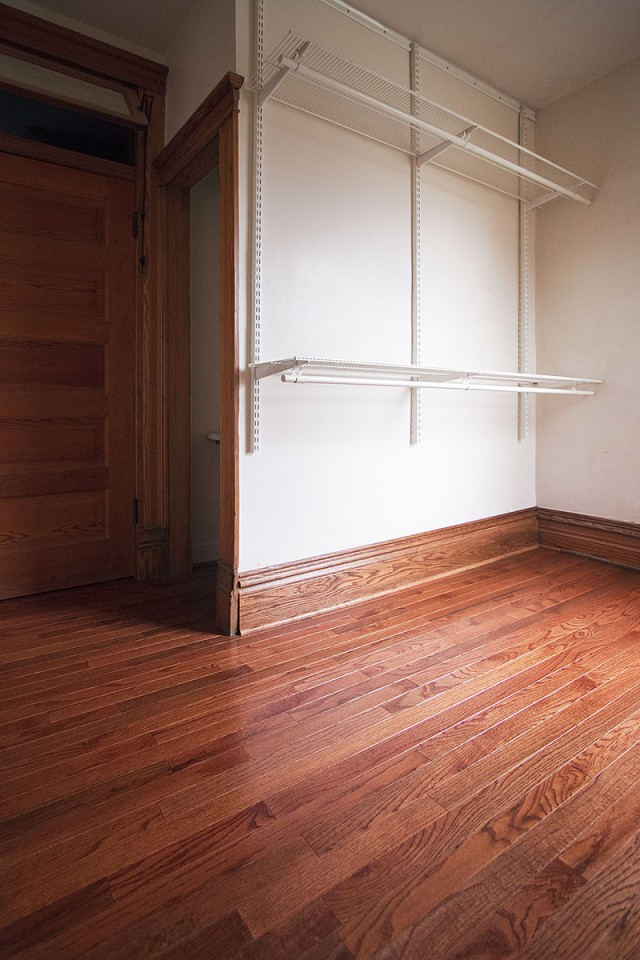 Master Bedroom Closet with New Hardwood Flooring