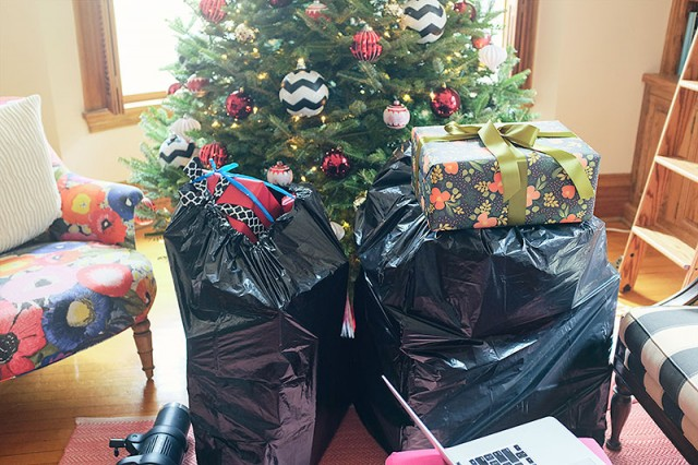 Bags of Fake Presents for a Christmas Photo Shoot