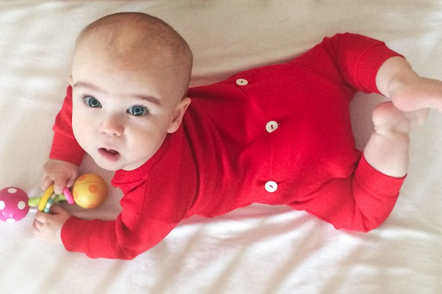 Six Month Old Baby in a Red Union Suit