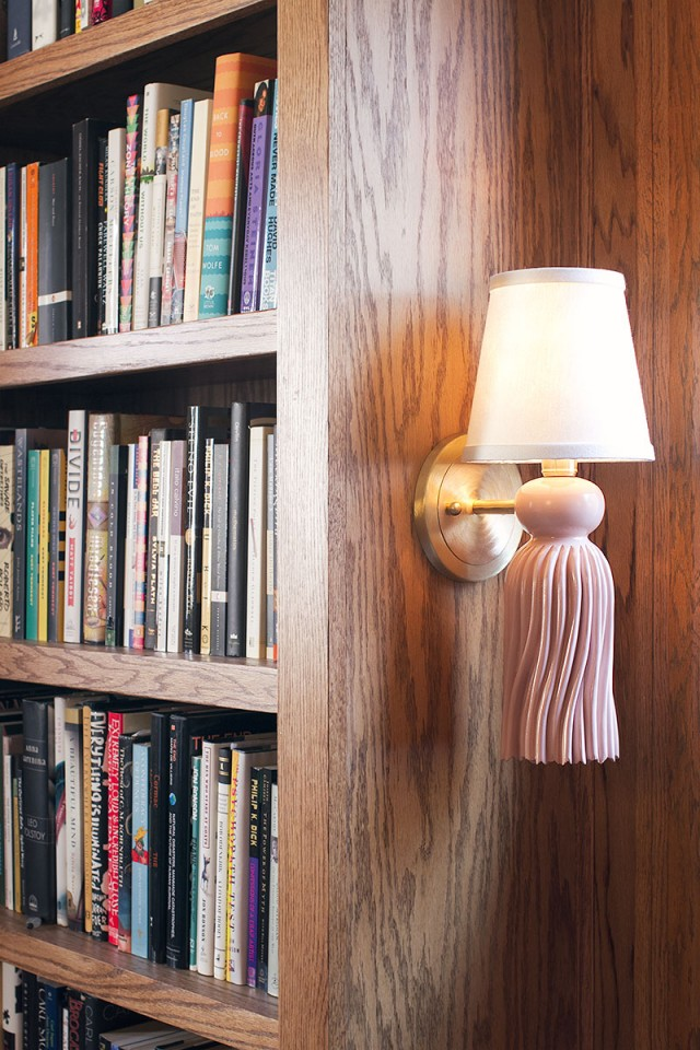 Pink and Brass Tassel Sconce