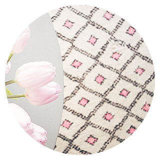 Moroccan Pink and White Beni Ourain Rug