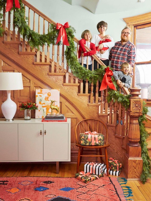 Making it Lovely's Victorian Stairway and Front Entryway in HGTV Magazine's Christmas 2015 Issue