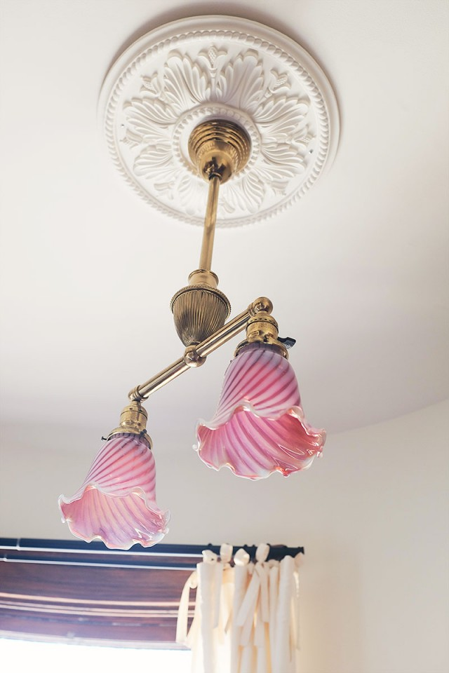 Antique Victorian Lighting with Pink Cranberry Glass Shades