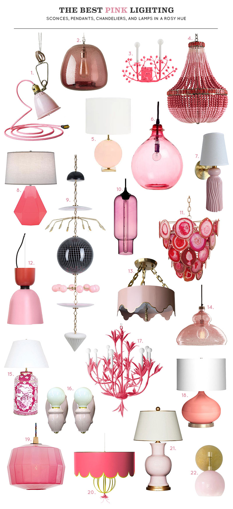 The Best Pink Lighting: Sconces, Pendants, Chandeliers, and Lamps in a Rosy Hue | Making it Lovely