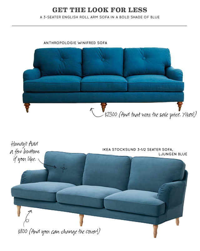 Get the Look for Less: Blue English Roll Arm Sofa