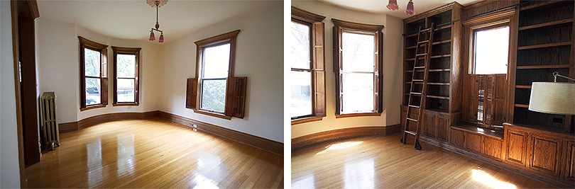 Front Parlor, Before and In Progress