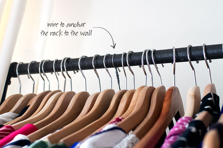 Wire Anchor to Secure a Garment Rack