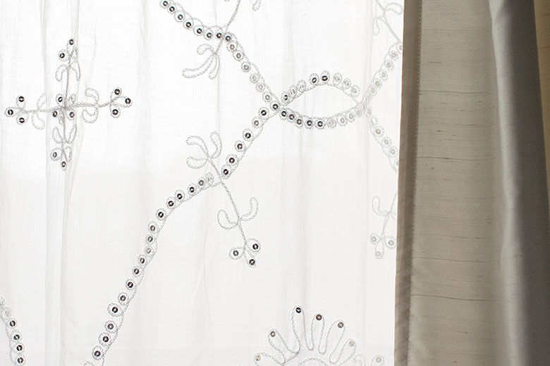 Embroidered Sheer Curtains with Sequins