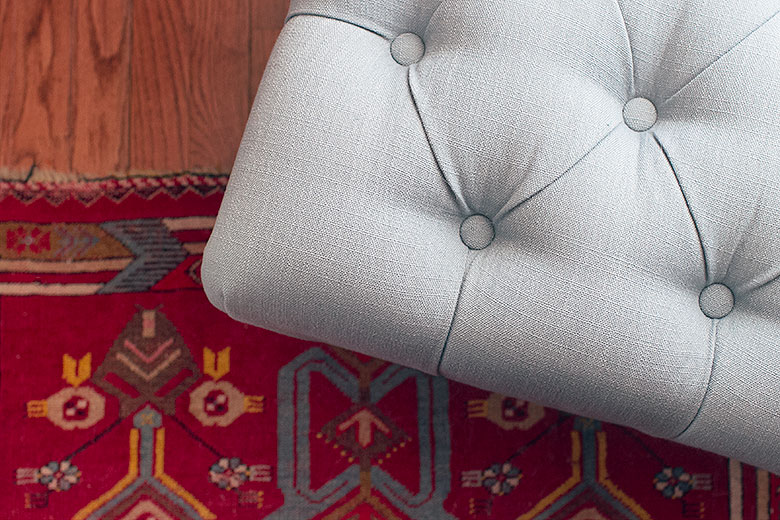 Vintage Rug and Tufted Stool