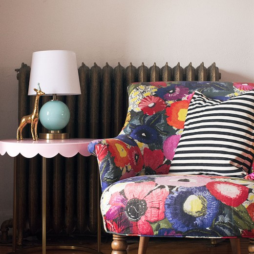 Colorful Chair, Striped Pillow, and Pink Target Pillowfort Scalloped Side Table | Making it Lovely