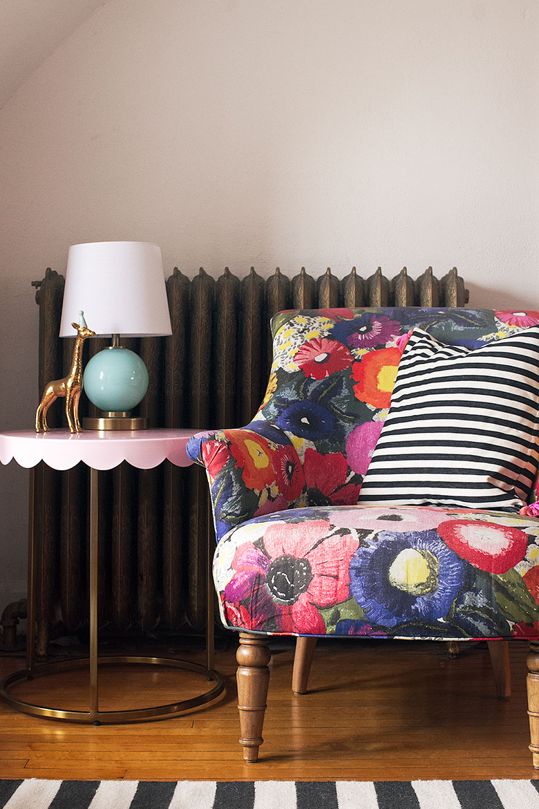 Colorful Chair, Striped Pillow, and Pink Target Pillowfort Scalloped Side Table   Making it Lovely