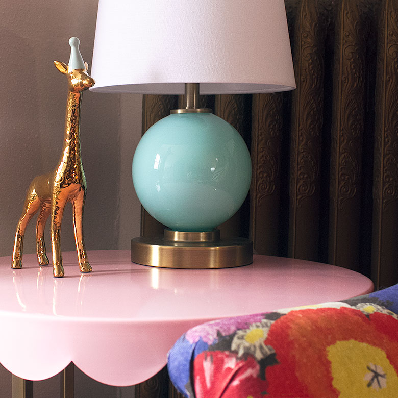 Pink Scalloped Side Table and Aqua Glass Lamp
