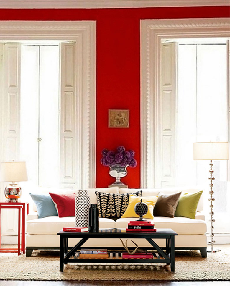 Pottery Barn, Red Walls, Living Room