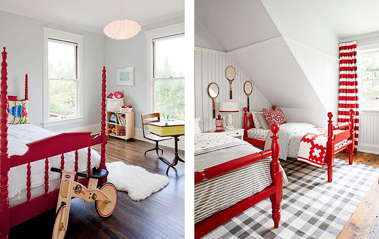 Red Painted Vintage Wooden Kids Twin Beds