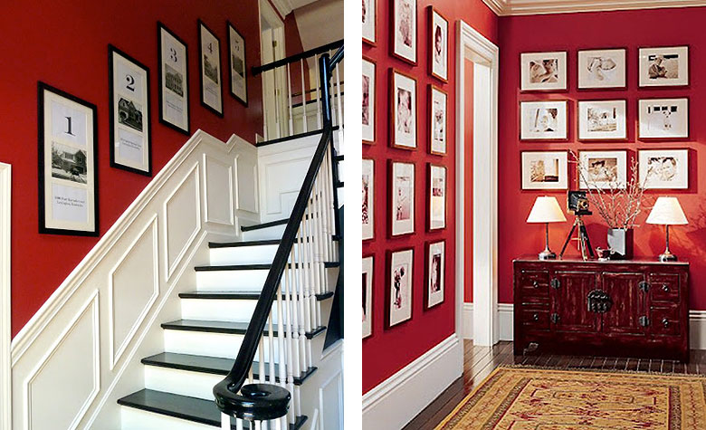 Red Rooms With Symmetrical Gallery Walls