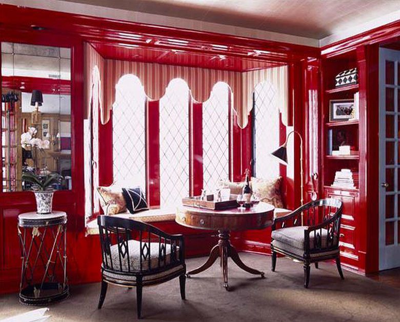 Ruthie Sommers' Red Library with Built-in Lacquered Bookshelves