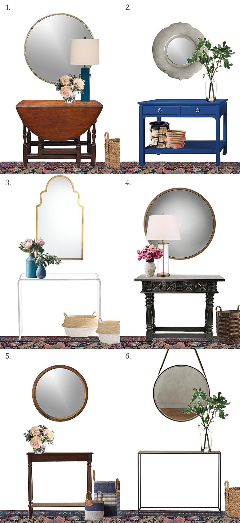 Choosing a console table and mirror for an entryway for Foyer console table and mirror set
