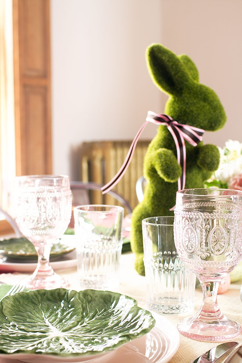 Leafy Green Salad Plates and Pink Wine Glasses