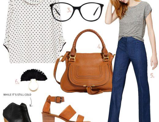 Polka Dot Blouse & Denim Trousers,