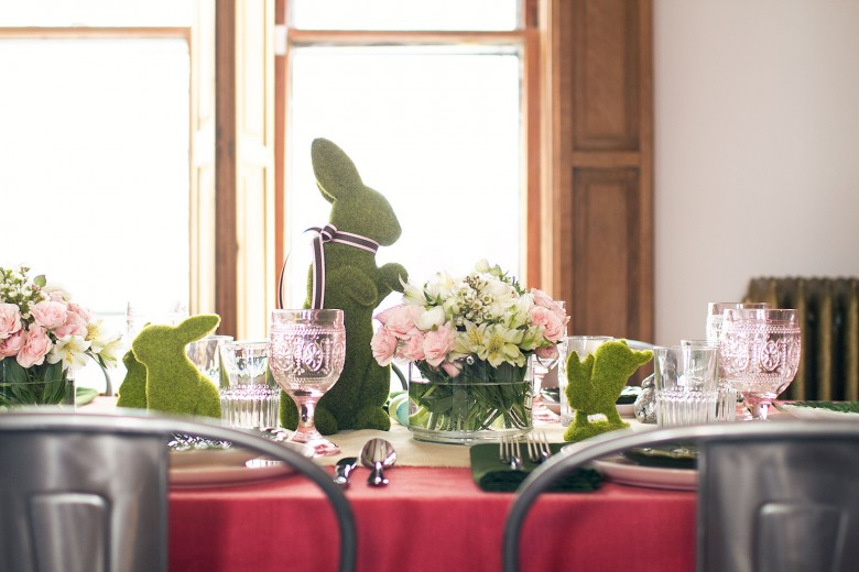 Pink and Green Easter Dining Table