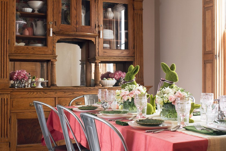 A Pink and Green Easter Table